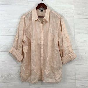 LRL Ralph Lauren 100% Linen Peach Striped Blouse